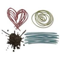 Sizzix Thinlits Die - Griffonages et Floc