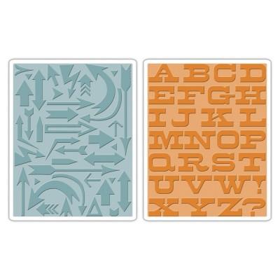 Arrows & Boardwalk Set Sizzix Texture Fades Embossing Folders 2PK