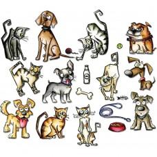 Sizzix Framelits Dies by Tim Holtz: Mini Crazy Cats & Dogs