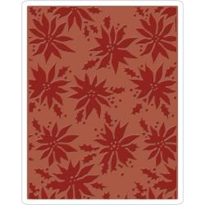 Sizzix Texture Fades Embossing Folder Poinsettias By Tim Holtz