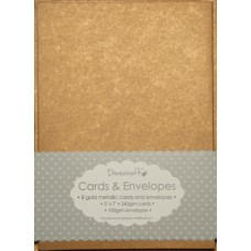 8 Dovecraft Cards and Envelopes Gold Metallic