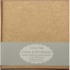 8 Dovecraft Square Cards and Envelopes: Gold Metallic
