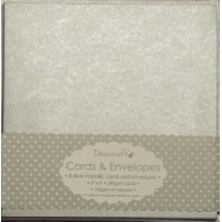 8 Dovecraft Cards and Envelopes Silver Metallic