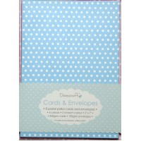8 pastel polka cards & envelopes C6