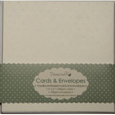 10 Dovecraft polka embossed Cards and Envelopes White Square