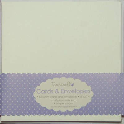 10 Dovecraft Cards and Envelopes White Square