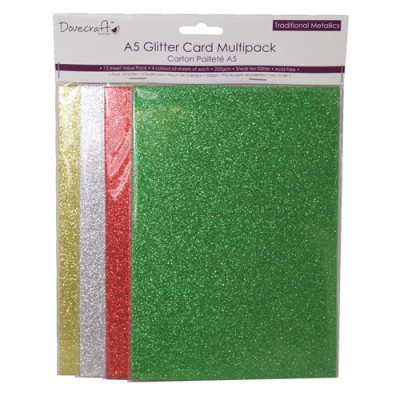 Dovecraft A5 Glitter Card Pack – Traditional Metallics
