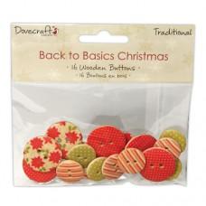 Dovecraft Noël Traditionnelle Boutons en bois