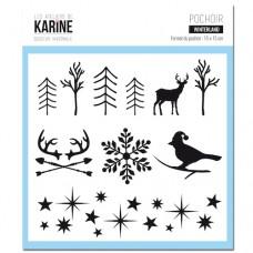 Winterland Stencil - Douceur Hivernale: Ateliers de Karine