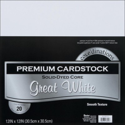 """Cardstock - 20 sheets White smooth 12""""x12"""""""