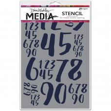 Dina Wakley Stencil - Jumbled Numbers