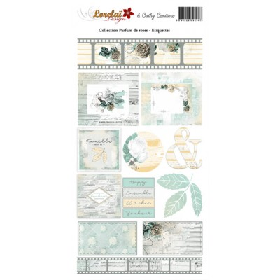 Sheet of labels - Parfum de Roses by Lorelaï Design & Cathy Contiero