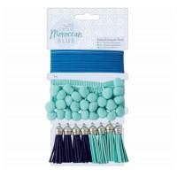 Papermania Capsule Moroccan Blue Fabric Trim Tassels Embellishments Pack
