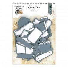 Blue-grey tag and label die cuts by Florilèges Design