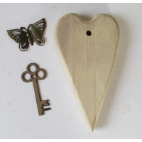 Mixed media project kit - Wood Heart, metal butterfly and chipboard key