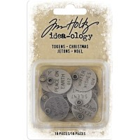 Tim Holtz Idea-ology Christmas Typed Tokens 18/Pkg