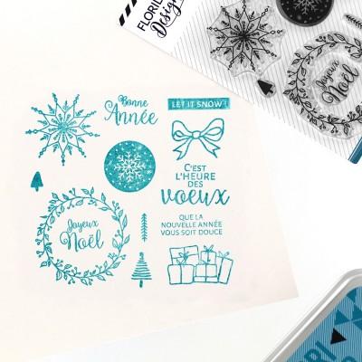 Vœux enneigés - Tampon transparents Florilèges Design.