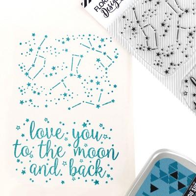 Dans les étoiles - Tampon transparents Florilèges Design.