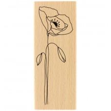 Long coquelicot - Tampon bois Florilèges Design