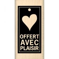 OFFERT AVEC PLAISIR Florilège Tampon monté sur bois