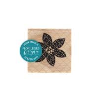 Fleur brodée noire -  Wood Mounted Florilèges Design Stamp