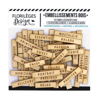 Florilèges Design engraved wood embellishments - Jolis mots 1