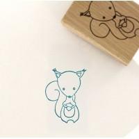 My little squirrel (Mon petit écureuil) -  Wood Mounted Florilèges Design Stamp