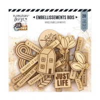 Florilèges Design engraved wood embellishments - Or Saison