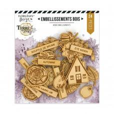 Florilèges Design engraved wood embellishments - Terre des sens collection