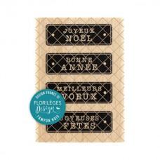 Quatre étiquettes de fête -  Wood Mounted Florilèges Design Stamp