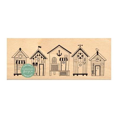 Cabanes de Plage Beach huts -  Wood Mounted Florilèges Design Stamp