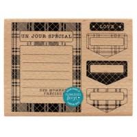 Carte et Onglets (card and tabs) -  Wood Mounted Florilèges Design Stamp