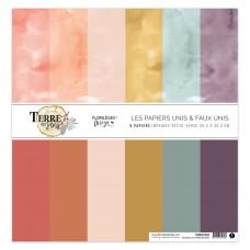 Plain printed papers by Florilèges Design - Collection scrapbooking Terre des sens