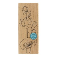 Lotus à la feuille - Wood Mounted Florilèges Design Stamp