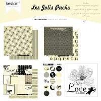 Kesi'art joli pack de papiers et tampons - Love is all Around