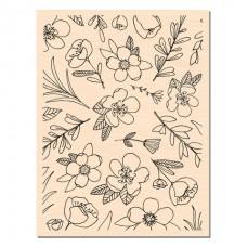 Fleurs de saison - wood mounted stamp: Ateliers de Karine