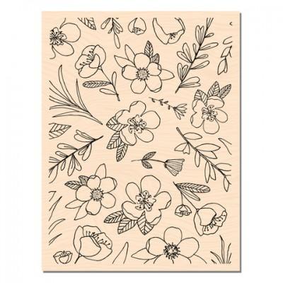 Blue Batik Fleurs de saison - Tampon montés sur bois: Ateliers de Karine