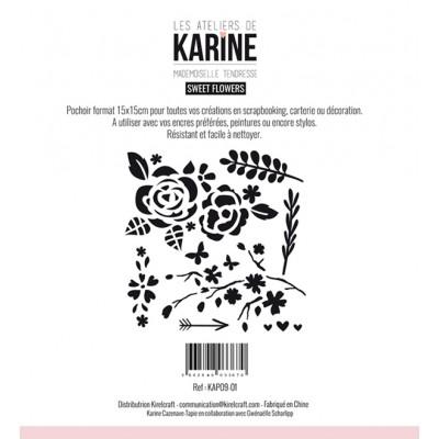 Sweet flowers Stencil - Mademoiselle Tendresse: Ateliers de Karine