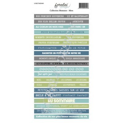 Sheet of words and phrases - Memento by Lorelaï Design