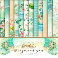 Pack of 6 papers 'Rivages Exotiques' by Lorelaï Design