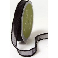 May Arts Frilled Organza Ribbon, black, per metre