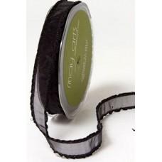 May Arts Frilled Organza Ribbon, black, per metre