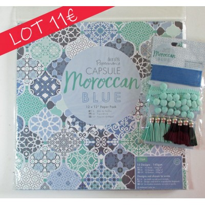 PaperMania Capsule Moroccan Blue SPECIAL OFFER BUNDLE - paper pack and embellishments