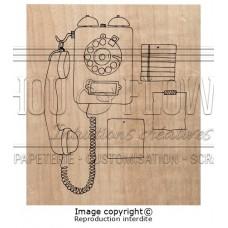 Chou & Flowers Wood Mounted Stamp - Phone call