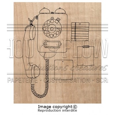 Chou & Flowers Wood Mounted Stamp - Phone call