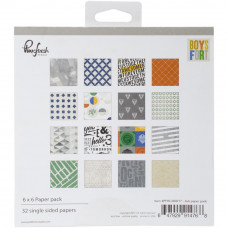 "Pinkfresh Studio Boys Fort paper pad 6"" x 6"""