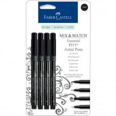 Lot de 4 Faber-Castell PITT artiste stylos essential - noir