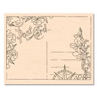Wooden stamp Postcard - A contre courant carte postale Les Ateliers de Karine