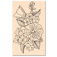Wooden stamp Summer Flowers - A contre courant Fleurs d'été - Les Ateliers de Karine