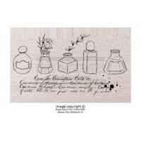 Chou & Flowers Wood Mounted Stamp - Les encriers (ink bottles)